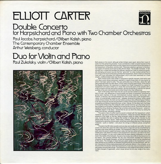 Elliott Carter: Double Concerto; Duo for Violin and PIano