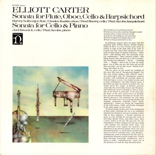 Elliott Carter: Sonata for Flute, Oboe, Cello, and Harpsichord; Sonata for Cello and Piano