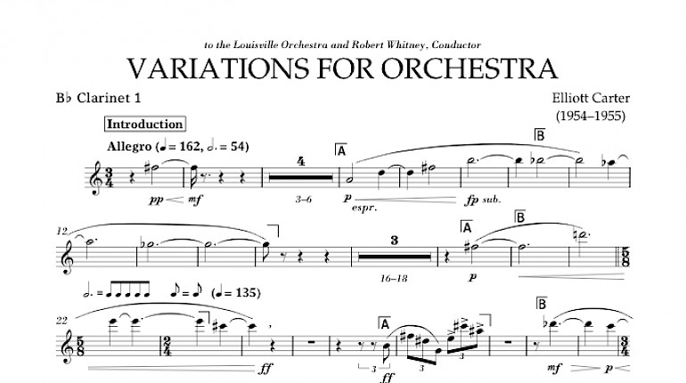 Newly engraved parts for Elliott Carter's Variations for Orchestra